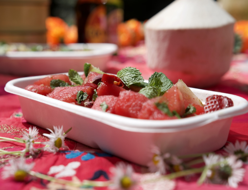 Watermelon Cucumber & Strawberry Salad